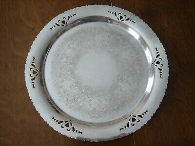 """Antique Victorian Plate Silverplate Platter Tray 12"""" Embossed Pierced Scalloped"""