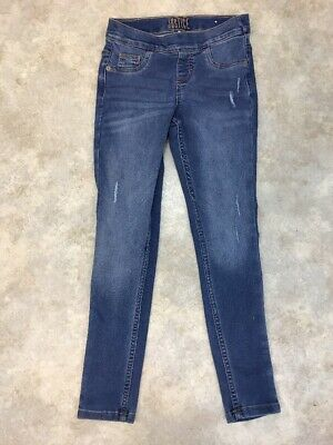 Justice Girls Blue Light Wash Distressed Mid Rise Legging Pull On Jean 10