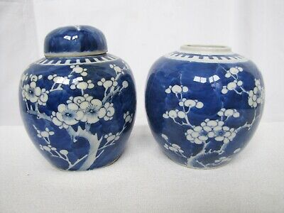 Pair of Antique Blue & White 19th C Chinese Porcelain Ginger Jar w/Double Mark.