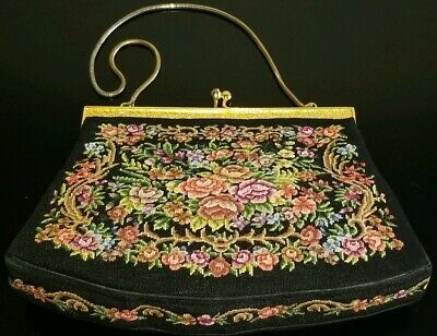 Vtg Petit Point Fine Needlepoint Floral Tapestry Micro Embroidery Purse Handbag