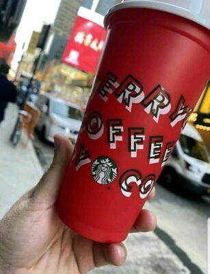 Starbucks Cup Holiday Christmas 2019 Red Reusable Hot 16oz Plastic Merry Coffee