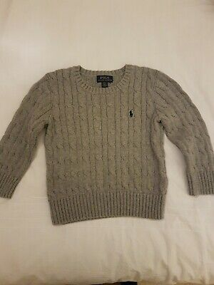 Polo Ralph Lauren Baby Boy Grey Cable Knit Jumper Size 3 Years