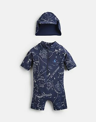 Joules Baby Sun Printed Swim Suit Set in NAVY TREASURE MAP Size 12min18m