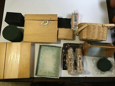 Wood Crafting Supplies Estate Lot Boxes Nutcrackers Baskets #10