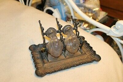 Antique Cast Iron Double Snail Inkwell