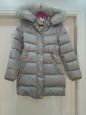 girls ted baker puffer quilted parka coat age 10 vgc