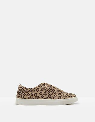 Joules Womens Solena Luxe Fur Leather Cupsole Trainers in LEOPARD Size Adult 6