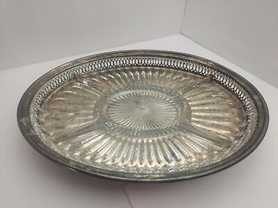 LEONARD ~ Silverplate Serving Relish Platter Tray Divided Glass 14 In ~ w PATINA
