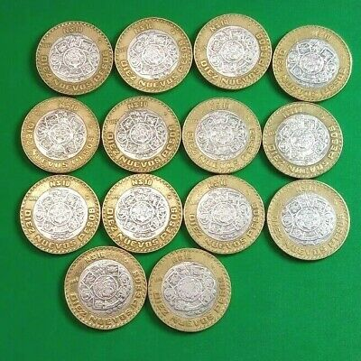 Mexico Lot Of (14) 10 Nuevos Pesos 1992 1993 1994 & 1995 Bimetallic Silver Coin