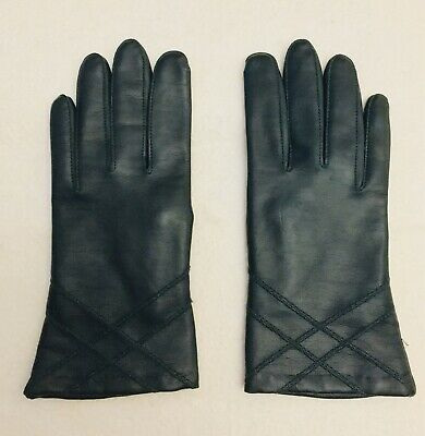 Prova Vintage Dark Green Leather Feel Lined Gloves - Size 7 ~ Small Size