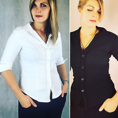 Sensible Blouse with Buttons Long Sleeve Shirt Top Stretchy Size 8-12 6045