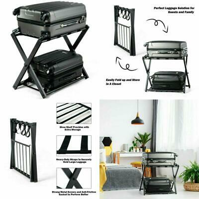 Luggage Rack with Shelf | Folding Metal Luggage Suitcase Rack Black
