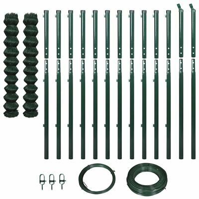 vidaXL Chain-Link Fence Set with Posts 1.97x25m Green Garden Panel Barrier