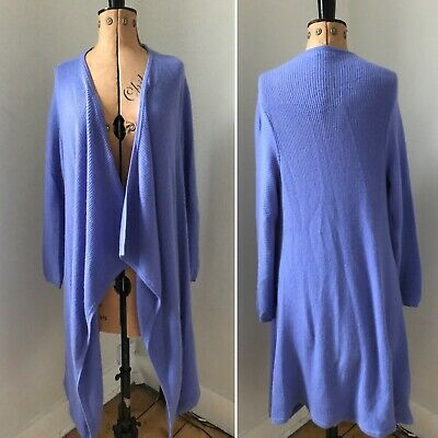 N.PEAL High end Luxury 100% PURE CASHMERE long wrap Cardigan Lilac SZ S RRP £695