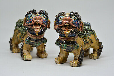 Vintage Chinese Crackle Glaze Pair Fu Lions - 5 Inches tall - 🐘