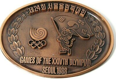 Seoul 1988 Olympic Games of the 24th Olympiad Mascot Wall Plate Brass SLOOC