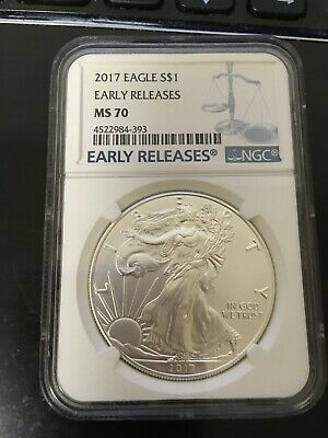 2017 $1 American Silver Eagle NGC MS70 Early Releases Blue  Label #393
