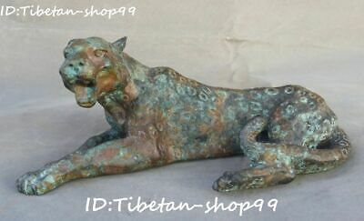 """9"""" Old China Bronze Fengshui Folk Ferocious Leopard Panther Tiger Animal Statue"""