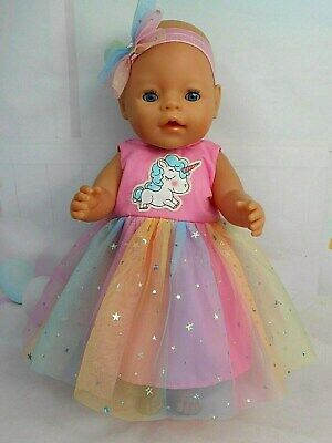 """Dolls clothes for 17"""" BABY BORN~16"""" CPK DOLL~UNICORN RAINBOW TULLE PARTY DRESS"""