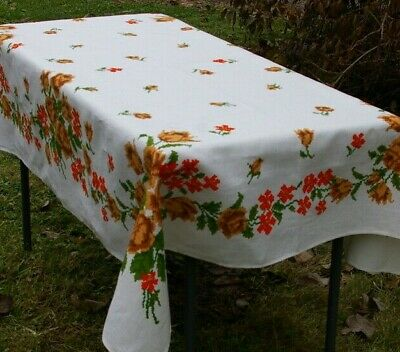 """Floral Tablecloth Linen Geometric Pixels Vintage 67"""" x 51"""" Rectangle Yellow Red"""