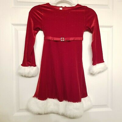 Bonnie Jean Girls Christmas Holiday Santa Dress Size 8 Red Pre-owned