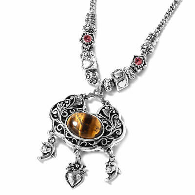 """Necklace Gift for Women Antique Silver Plated Tigers Eye Silvertone Size 30"""""""