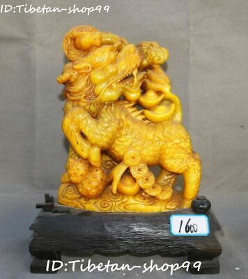 Rare Natural Tianhuang Shoushan Stone Dragon Kylin Pixiu Beast Seal Stamp Signet