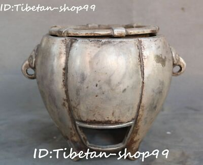 Rare Collect Chinese Old Silver Dynasty Folk Pot Incense Burner Censer Statue