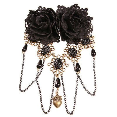 Gothic Retro Black Fringed Flowers Lace Headdress Fashion Hair Clip Jewelry XO1