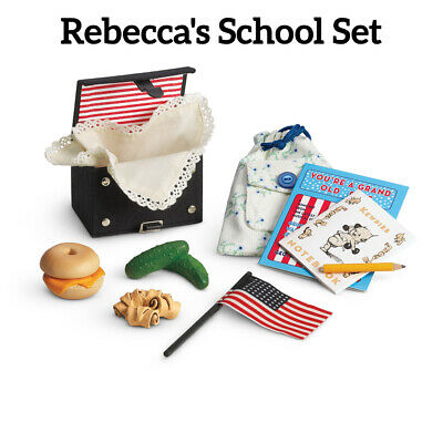 New American Girl Retired Rebecca's School Set Lunch Pencil Flag Bag Bagel Music