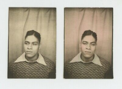 2 Vintage Photo Booth Black African American Man Young Handsome Male Athlete