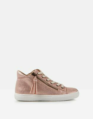 Joules Girls Runaround High Top Trainers in ROSE GOLD