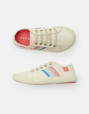 Joules Girls Coast Pump Canvas Lace Up Trainers in RAINBOW