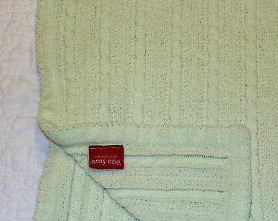 Amy Coe Limited Edition Chenille cable knit Baby Blanket green