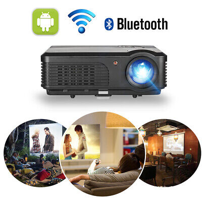 Wireless LED Android Projector Bluetooth Wifi HD 1080P Video Movie Home Cinema