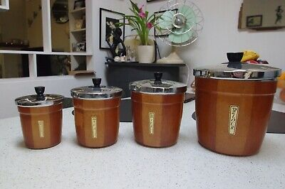 Aluminium 1970's Kitchen Canisters.