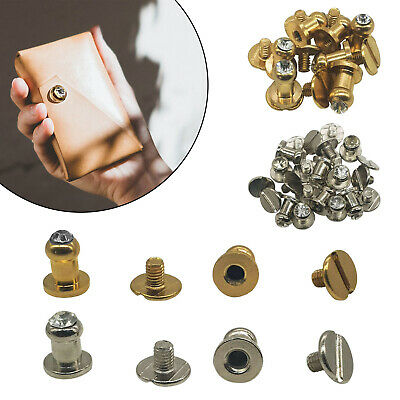 Brass Crystal Diamante Chicago Knob Studs Screw Rivets for Belts Jackets Décor