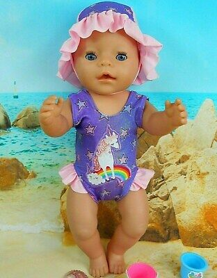 """Dolls clothes for 17"""" Baby Born doll~UNICORN~PINK/PURPLE STARS SWIMMING COSTUME"""