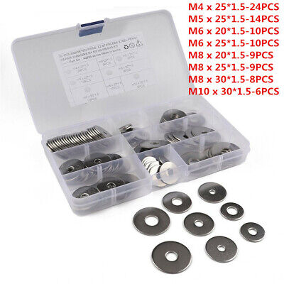90 Assorted Piece A2 Stainless Steel M4 M5 M6 M8 M10 Form A2 Flat Washer Kit