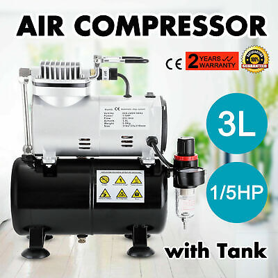1/5 HP Compressor Airbrush Single/ Dual Action Mini Spray Gun Kit Air Brush 25L