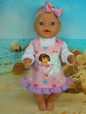"""Dolls clothes for 17"""" BABY BORN~16"""" CABBAGE PATCH DOLL~DORA HEART PINAFORE SET"""