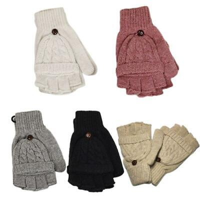 Womens Cable Knit Fingerless Mittens Winter Convertible Gloves with Flip Cover