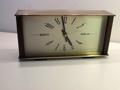 Vintage Metamec 1960's Style Brass & Wood Rectangle Mantel Clock,Jungham Quartz