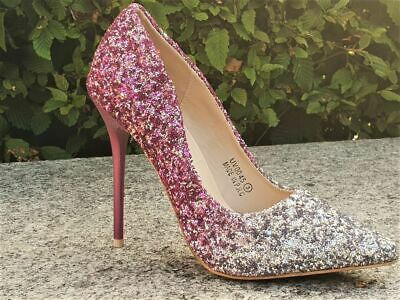 Ladies Glitter Ombre Pointed Toe Slim Heel Court Shoes Evening Party Uk Size 3
