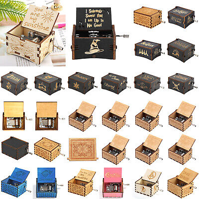 Mini Antique Wooden Music Box Hand Cranked Musical Case Christmas Birthday Gift