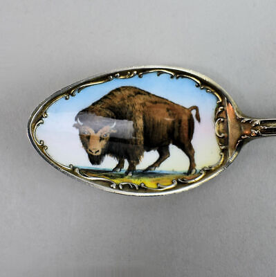 Antique Sterling Silver New York & Bison Enamel Spoon C.1910 - 36 Grams