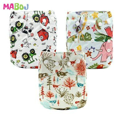 MABOJ Cloth Diaper Nappies 3pcs Adjustable Reusable Lot Baby Washable Waterproof