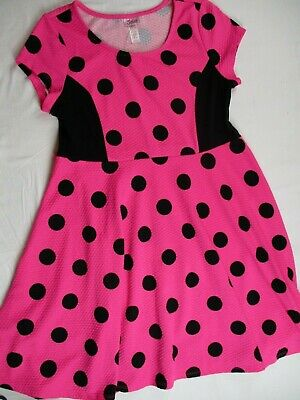 Girl size 12 1/2 Hot pink black polka dot dress JUSTICE