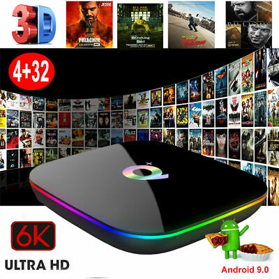 NEW Q plus 6K 4G+32G Android 9.0 Smart TV Box Quad Core Media Player HDMI 2.0 IT