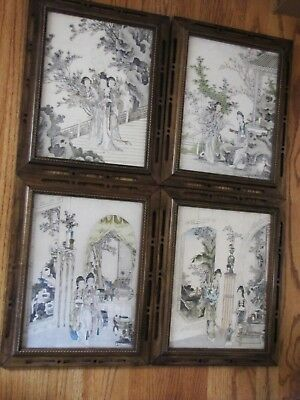 Antique 20th Century Chinese Beautiful Old Print on Paper w/Frame